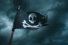 Pirate Flag Waving With The Wind
