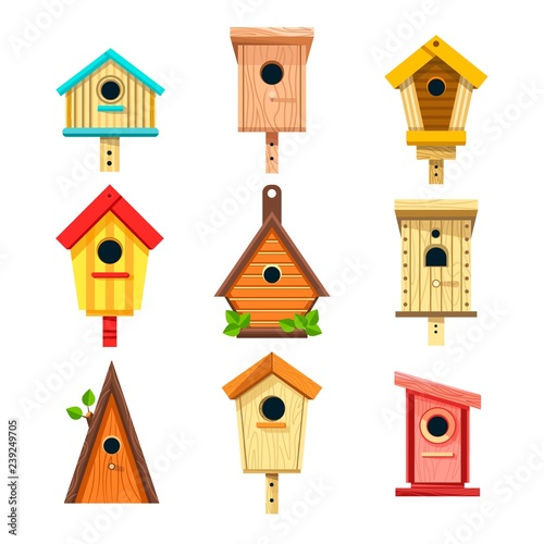 Wooden birdhouses isolated icons, nesting boxes to hang on tree Poster Mural XXL