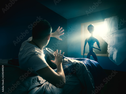Canvas Prints UFO Young man getting abducted