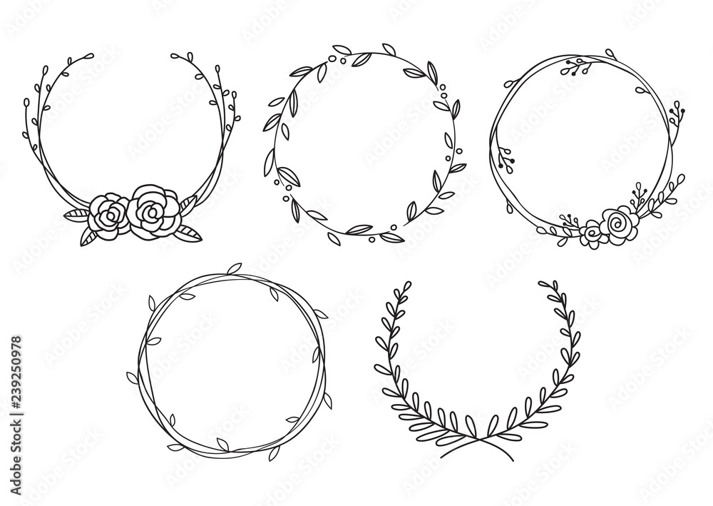 Fototapeta Vector illustration of hand drawn wreaths. Cute doodle floral wreath frame set.