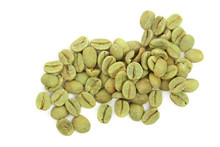 Green Coffee Beans Isolated On White Background Close Up. Top View. Flat Lay