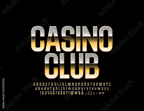 Vector luxury Casino Club Emblem  Colden Glossy Font  Stylish