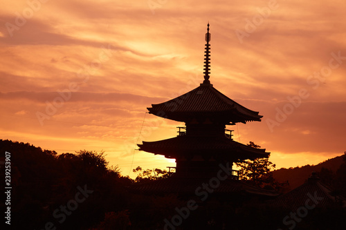 Printed kitchen splashbacks Kyoto 法起寺の夕日
