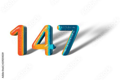 Fotografía  3D Number 147 one hundred forty seven lively colours