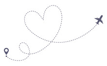 Love Airplane Route. Romantic Travel, Heart Dashed Line Trace And Plane Routes Isolated Vector Illustration