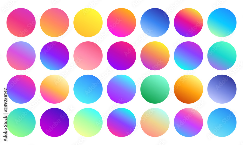Fototapeta Vivid gradient spheres. Minimalist multicolor circles, abstract 80s vibrant colors and modern gradients sphere isolated vector set