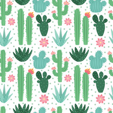Seamless Cactus Pattern. Exotic Desert Cacti Houseplants, Repeating Cactuses Vector Background