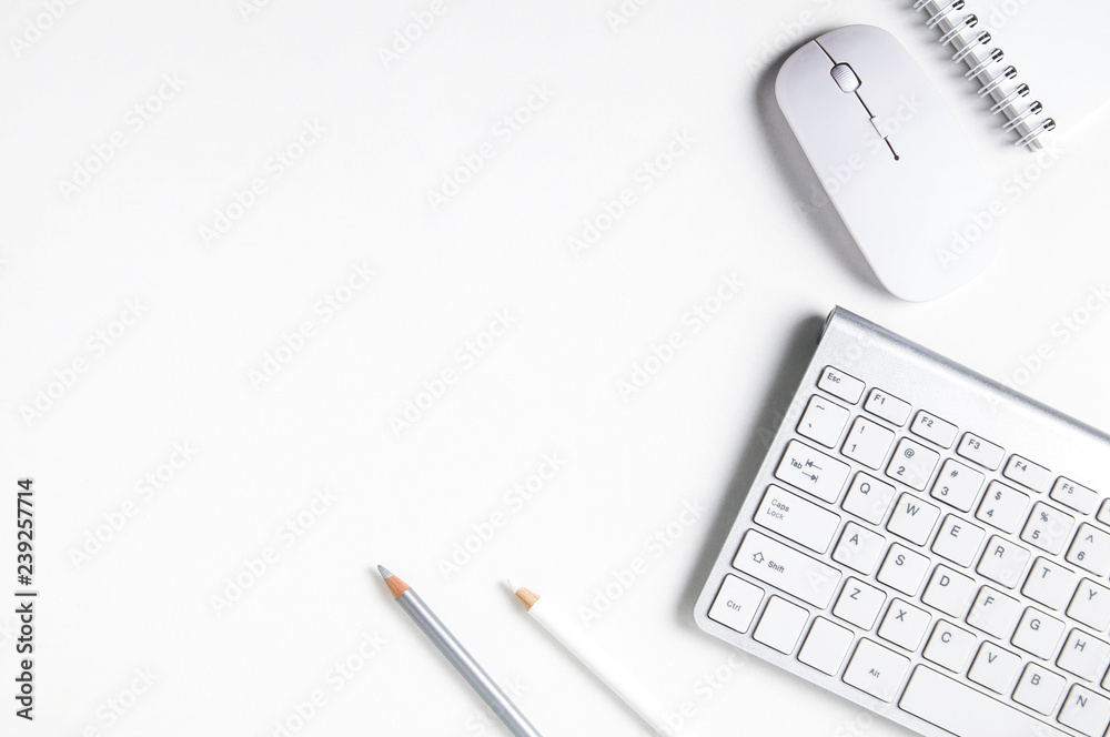 Fototapety, obrazy: White computer mouse and keyboard on white background