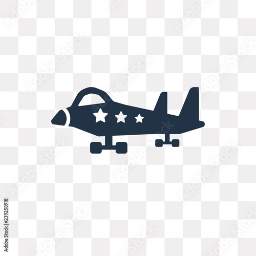 Military Airplane Vector Icon Isolated On Transparent Background