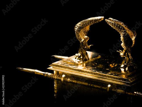 Fotografiet Ark of the covenant on a dark background / 3D illustration