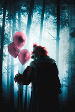 Scary Clowns Holding Balloons In A Forest