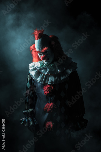 Ingelijste posters Halloween Scary clown on a dark background