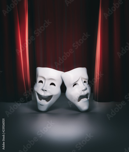 Obraz na plátně theater stage with red curtain and masks / 3D illustration