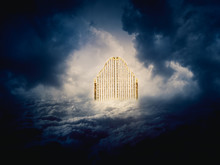 Gold Heavens Gate In The Sky /...