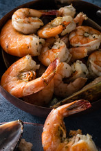 Cooked Shrimp In A Pan Close-up.