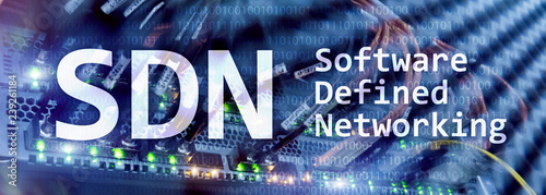 Cuadros en Lienzo  SDN, Software defined networking concept on modern server room background