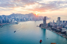 Sunset Of Victoria Harbour, Ho...