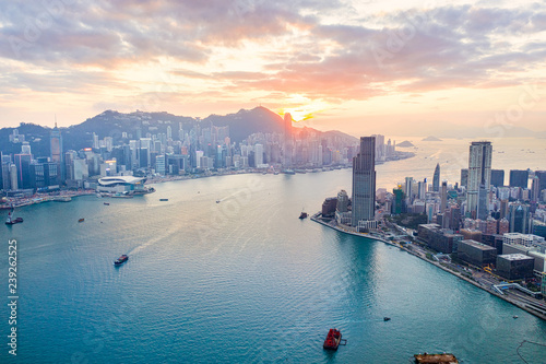 Sunset of Victoria Harbour, Hong Kong Canvas Print