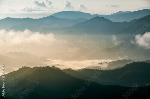 Fototapety, obrazy: Fog covering the mountain