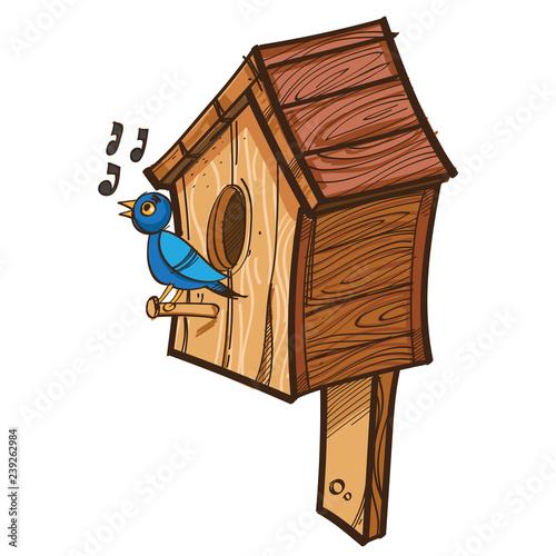 Stampa su Tela Vector singing bird near birdhouse