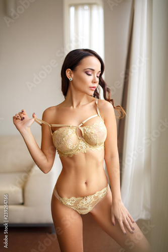 Perfect Girl In A Sexy Gold Lingerie