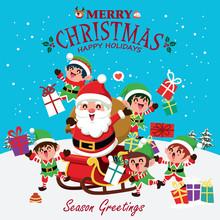 Vintage Christmas Poster Design With Vector Snowman, Santa Claus, Elf, Reindeer Characters.