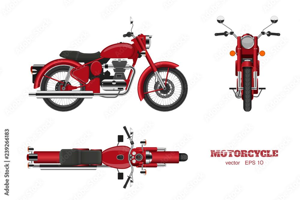 Retro klasyczny motocykl w realistycznym stylu. Widok 3D z boku, góry i przodu. Szczegółowy wizerunek rocznika czerwony motocykl na białym tle