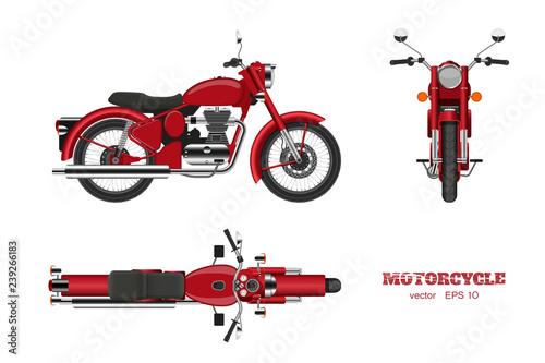 Naklejka premium Retro klasyczny motocykl w realistycznym stylu. Widok z boku, góry i przodu. Szczegółowy wizerunek rocznika czerwony motocykl na białym tle