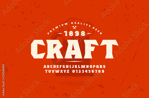 Платно Serif font and craft beer label template