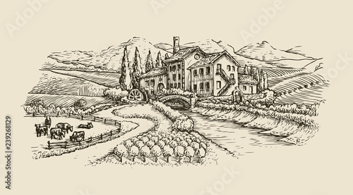 Farm landscape, village sketch. Agriculture, hand drawn vintage vector illustration