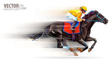 Jockey On Racing Horse. Champi...