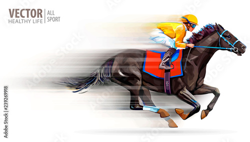 Fotografia, Obraz Jockey on racing horse