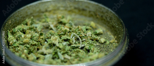 Photographie grinder with cannabis medicinal bud close up weed black background