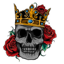 King Skull With Roses