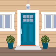House Door Front With Doorstep...