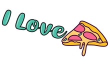 I Love Pizza. Vector Illustration. Isolated On White Background.