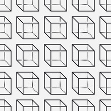 Geometric Shapes Seamless Pattern With Flat Line Icons Of Cube Figure. Modern Abstract Background For Geometry, Math Education. Black White Vector Illustrations