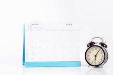 Vintage Clock And Calendar December On White Background, Time Concept
