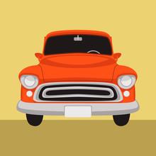 Vintage Car ,vector Illustration , Flat Style , Front