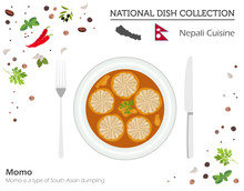 Nepali Cuisine. Asian National Dish Collection. Momo Isolated On White, Infograpic