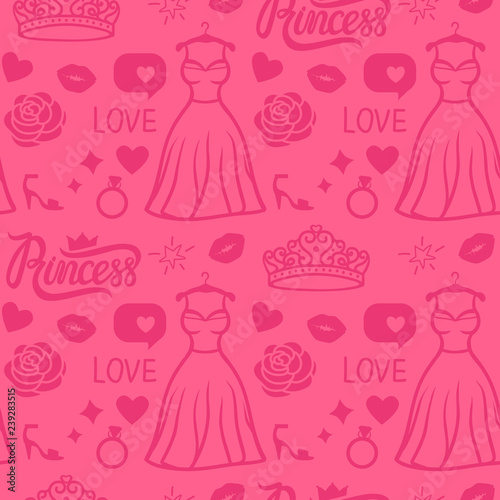 Poster Doodle Vector Pink Princess seamless pattern style. Hand drawing dress with diadem, inscription, rose, kiss and shoe. Girly surface design.