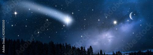 Deurstickers Nacht Sternschnuppe am Himmel