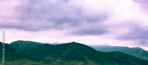 Printed kitchen splashbacks Purple blurred photos of Caucasus mountains with clouds