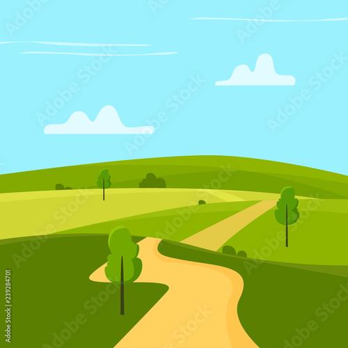 Keuken foto achterwand Lichtblauw Sunny landscape. Flat cartoon style vector illustration.