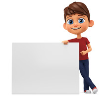 Cartoon Character Boy In Red T-shirt Points To A Blank Board On A White Background. 3d Rendering. Illustration For Advertising.