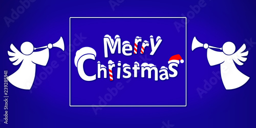 Angels Christmas Background.Christmas And New Year On Blue Background With Christmas