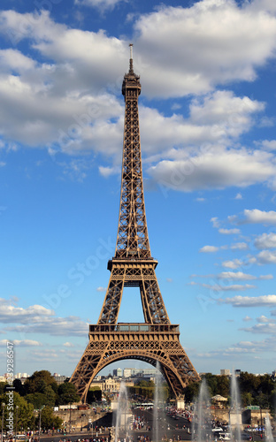 Acrylic Prints Red, black, white Eiffel Tower symbol of in Paris city in France with clouds seen