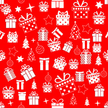 Repeating Christmas Pattern With White Decorative Elements On Red Background. Vector Illustration