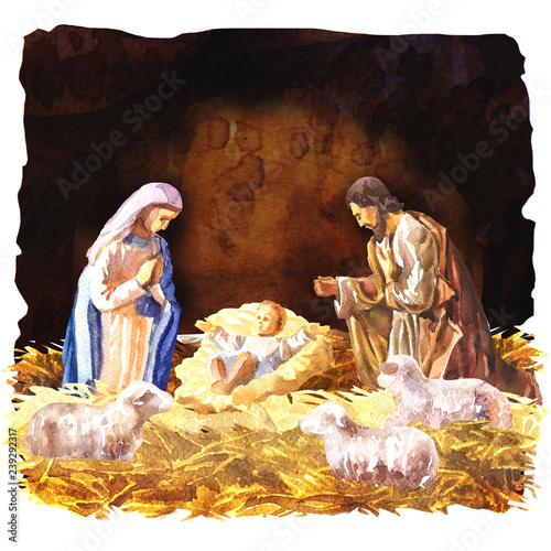 Fotografie, Obraz Traditional Christmas Crib, Holy Family, Christmas nativity scene with baby Jesu