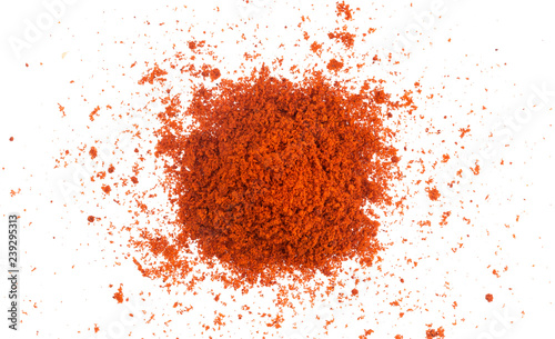 Foto op Plexiglas Hot chili peppers Pile of red paprika powder isolated on white background. Top view